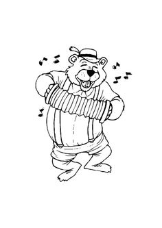 Coloring Page bear with accordion Free Coloring Sheets, Adult Coloring Pages, Coloring Pages For Kids, Teaching Materials, Adult Children, Doodles, Bear, Fictional Characters, Children Coloring Pages