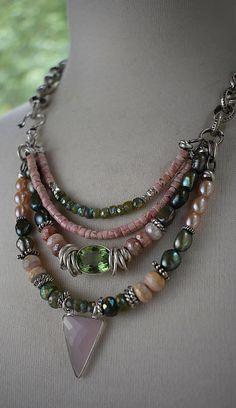 necklace pink opal necklace vesuvianite necklace pearl