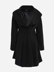 Loose Fitting Lapel Dacron Plain Overcoat
