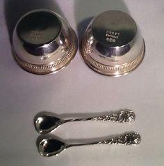 2 Gorham Sterling Silver Salt Dishes A2860 w/2 Sterling Rose  Spoons Celles