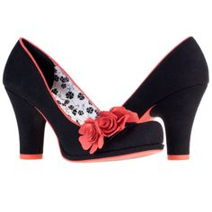 The beautiful Ruby Shoo Eva in classic black has a gorgeous coral trim and floral corsage. A firm favourite for days and evenings out, these Eva #shoes are made from the m... #vintage #retro #clothing #women