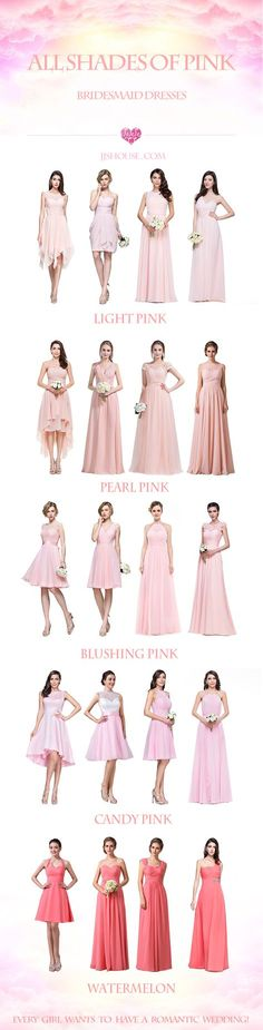 Every girl wants to have a romantic wedding!  ALL SHADES OF PINK Bridesmaid Dresses #bridesmaiddress