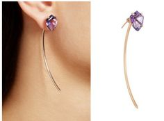Lito's 'Treasure Box' is a single 18-karat rose gold earring finished with a stunning shield-cut 5.00-carat amethyst