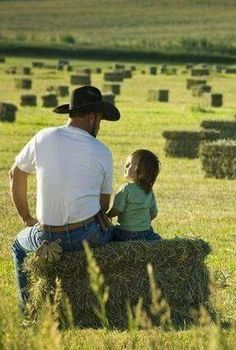 Telling dad about your plans to one day go exploring outside the county line at the end of a hard days work.
