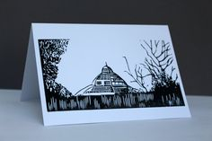 Palm House Linocut print, Liverpool, greeting card, Mothers Day, architectural, gardens, parks, trees
