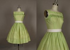 vintage 1950s dress day full skirt lace pleated cotton lime green