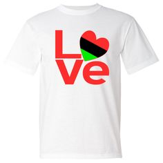 "Red letters form the word ""LOVE"" with the ""O"" created using a heart shaped Flag of the African Diaspora or African American Flag. Wonderful for sharing your love and pride in your ethnic heritage, culture and ancestry at Valentine's Day. Terrific for celebrating Black History Month and Juneteenth. Great gift for Kwanzaa, too. $19.99 ink.flagnation.com"