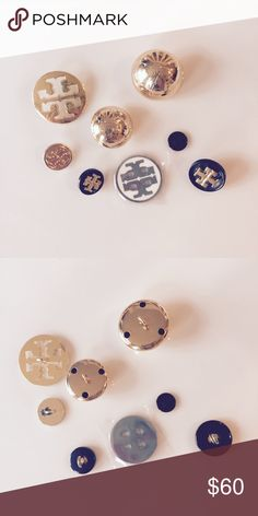 Tory Burch gold and silver buttons Tory Burch extra buttons. 8 in total. Some are silver and some are gold. 7 of them have the Tory Burch logo, one little one does not. All are from Tory Burch sweaters and tops I had. Open to offers! These would be great for jewelry.  Check out my closet for more Tory Burch earrings and bracelets! I'm cleaning out my jewelry box. Tory Burch Accessories