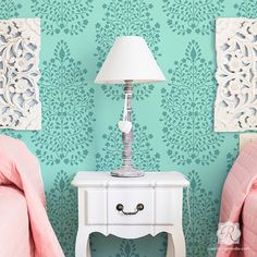 Garden Damask Persian Allover Wall Stencil by royaldesignstencils