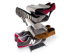 nest free standing shoe rack. I like this idea. I can even create something like this using the industrial pipe shelving idea.