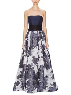 Colorblock and Jacquard Strapless Gown   from Dress Shop: Special Occasion Dresses on Gilt