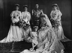 (L-R) Princess Victoria Eugenia, Princess Beatrice of Edinburgh, the groom Crown Prince Gustav VI Adolf, and sister of the bride Princess Patricia of Connaught. In front: Flower girl Mary and the bride Princess Margaret of Connaught, the new Crown Princess of Sweden in 1905's