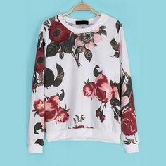 29,90EUR Pullover weiss mit Rosen Sweatshirt