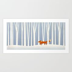 Buy Fox in the Snow Art Print by lizurso. Worldwide shipping available at Society6.com. Just one of millions of high quality products available.