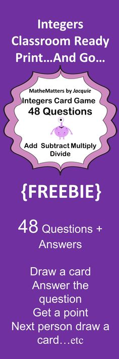 Integers Free – Add, Subtract, Multiply, Divide Integers 48 Questions GAME - New Site Math Teacher, Math Classroom, Teaching Math, Teaching Ideas, Free Math Games, Fun Math, Math Math, Maths, Guided Math