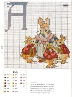 Peter Rabbit cross stitch alphabet. Follow link for more.