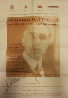 manifesto Mostra Giacomo Matteotti 2004, Rovigo, Fratta Polesine, Costa