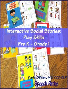 Target social skills with 5 interactive stories focusing on play in students PreK-grade 1.  Great for children with autism.