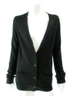 Norio Nakanishi's V-necked cardigan with ribbed cuffs and bottom. Price $191.00