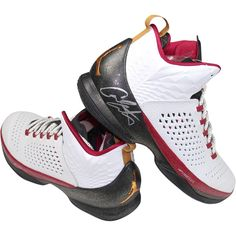 Carmelo Anthony Signed Right Shoe JORDAN MELO M11 Christmas  White/Bronze/Black/Red