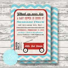 Vintage Little Red Wagon Baby Shower Invitation - Next day turn around available - Printable Birthday Party or Baby Shower Invites $12 and instant download decorations just $10! by BeeAndDaisy