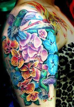 Hummingbird Orchid Tattoo On Shoulder - http://tattoosaddict.com/hummingbird-orchid-tattoo-on-shoulder.html hummingbird, hummingbird tattoo, on, orchid, shoulder, tattoo