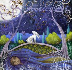 Luna e madre terra arte stampa di Amanda Clark di earthangelsarts
