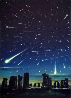 Stonehenge with Shooting Stars