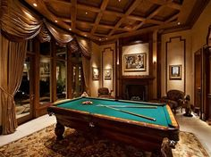 Interior, Awesome The Masculine Game Room Designs With Brown Decoration Look Comfortable With Glory Curtains: Masculine Basement Game Room D...
