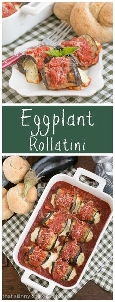 Eggplant Rollatini - A delightful vegetarian entree featuring grilled eggplant rolled around a ricotta mozzarella filling from thatskinnychickcanbake.com @lizzydo #SundaySupper: