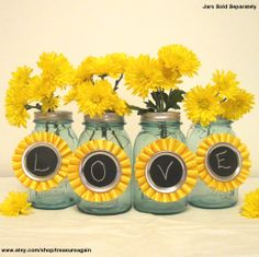 Yellow Chalkboard Tags 6 Ball Mason Jar Centerpiece Decorations for Weddings, Birthday Parties, or Events, Upcycled Rossette Ribbons. $33.00, via Etsy.
