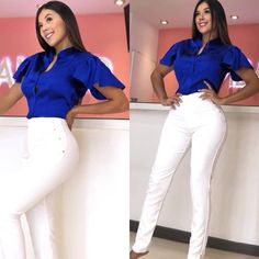 La imagen puede contener: 2 personas, calzado e interior Jean Outfits, Casual Outfits, Casual Looks, Plus Size Fashion, White Jeans, Glamour, Blouse, Womens Fashion, How To Wear