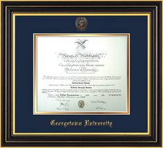 Georgetown U Diploma Frame Satin Black W Gu Seal Navy On Gold