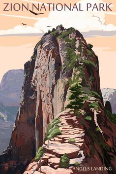 Print (Zion National Park, Utah - Angels Landing & Condors - Lantern Press Artwork)