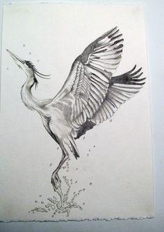 blue heron tattoo sketch | WefollowPics