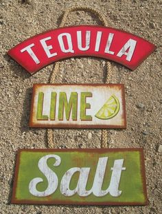 TEQUILA LIME SALT Margarita Tiki Beach Bar Wood Cantina Rope Sign Home Decor NEW #HighlandGraphicsInc #Tropical