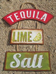 TEQUILA LIME SALT Margarita Tiki Beach Bar Wood Cantina Rope Sign Home Decor NEW #HighlandGraphicsInc #Tropical