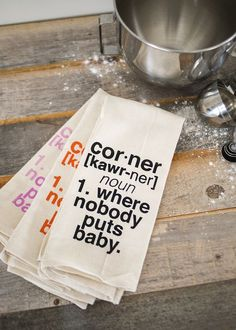 Keep it current with a modern printed tea towel.