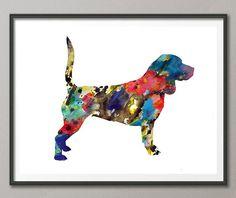 Beagle dog Print Dog Art Wall Art watercolor gift by MimiPrints
