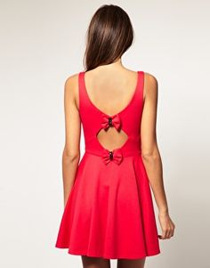 ASOS Red Dress with Cutout Bow Back. Love.