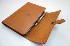 A5 Tan Leather Notebook & Journal Cover with pen holder. • Moleskine, Hobonichi, Leuchtturm, Clairefontaine, and Rhodia.