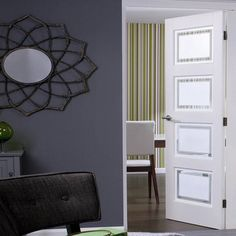 Contemporary 4L White Primed Door with Sandblasted Safety Glass and Clear Lines As Shown. #home #interiordesign #home #living