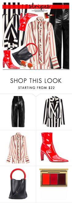 """""""Stripes"""" by oshint ❤ liked on Polyvore featuring MSGM, Paul Frank, MISBHV, Marni, MAC Cosmetics, Karen Walker and stripes"""