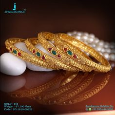 Gold 916 Premium Design Get in touch with us on Plain Gold Bangles, Gold Bangles For Women, Gold Bangles Design, Gold Earrings Designs, Beaded Jewelry Designs, Gold Jewellery Design, Bridal Jewellery, Fashion Jewellery, Women's Fashion