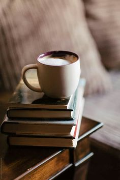 Coffee on a stack of books. by Kristen Curette Hines for Stocksy United Coffee And Books, Coffee Love, Coffee Shop, Coffee Cups, Coffee Art, Coffee Photography, Stack Of Books, Book Aesthetic, Bookstagram