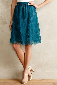 Blue teal lace skirt