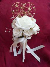 Bespoke Artificial Bridal Ivory Flower-girl or Bridesmaid Gold Heart Wand