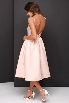Pretty Peach Dress - Midi Dress - Backless Dress - $58.00 wedding guest