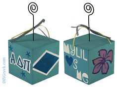 ADPi  Photo Cubes.  These Alpha Delta Pi photo holder was made by our University of Alabama Rep, Madelyn.  She used the stencils and supplies from our Supply Sack.  Isn't this a great result?