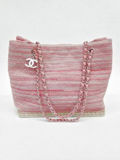 Chanel Pink Quilted Tweed Espadrille Bag